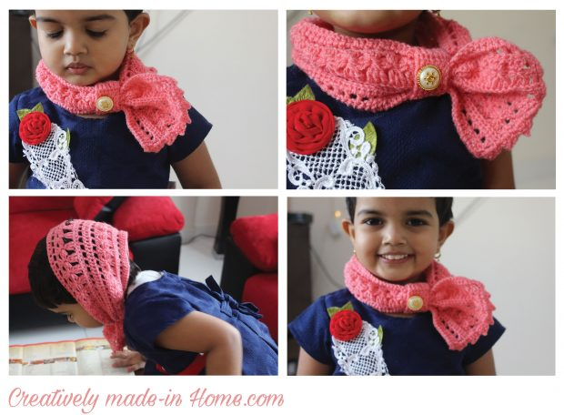 Crochet cowl with baby