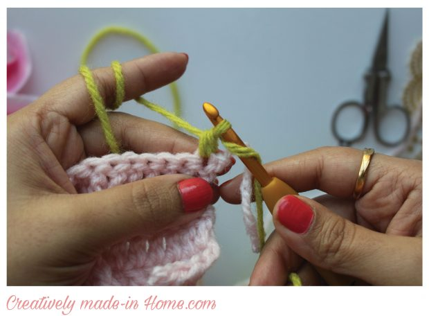 draw yarn through first two loops