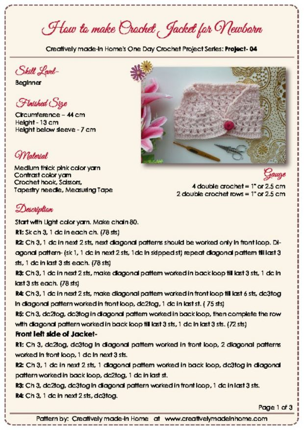 thumbnail of How to make crochet Jacket for Newborn- Instruction Card