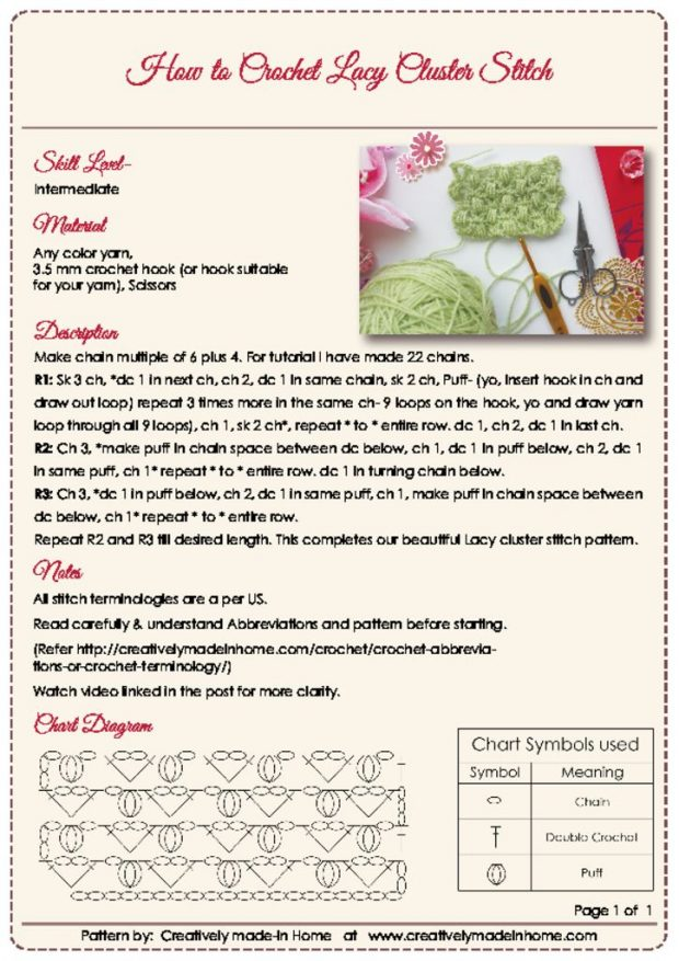 thumbnail of How to crochet Lacy Cluster Stitch