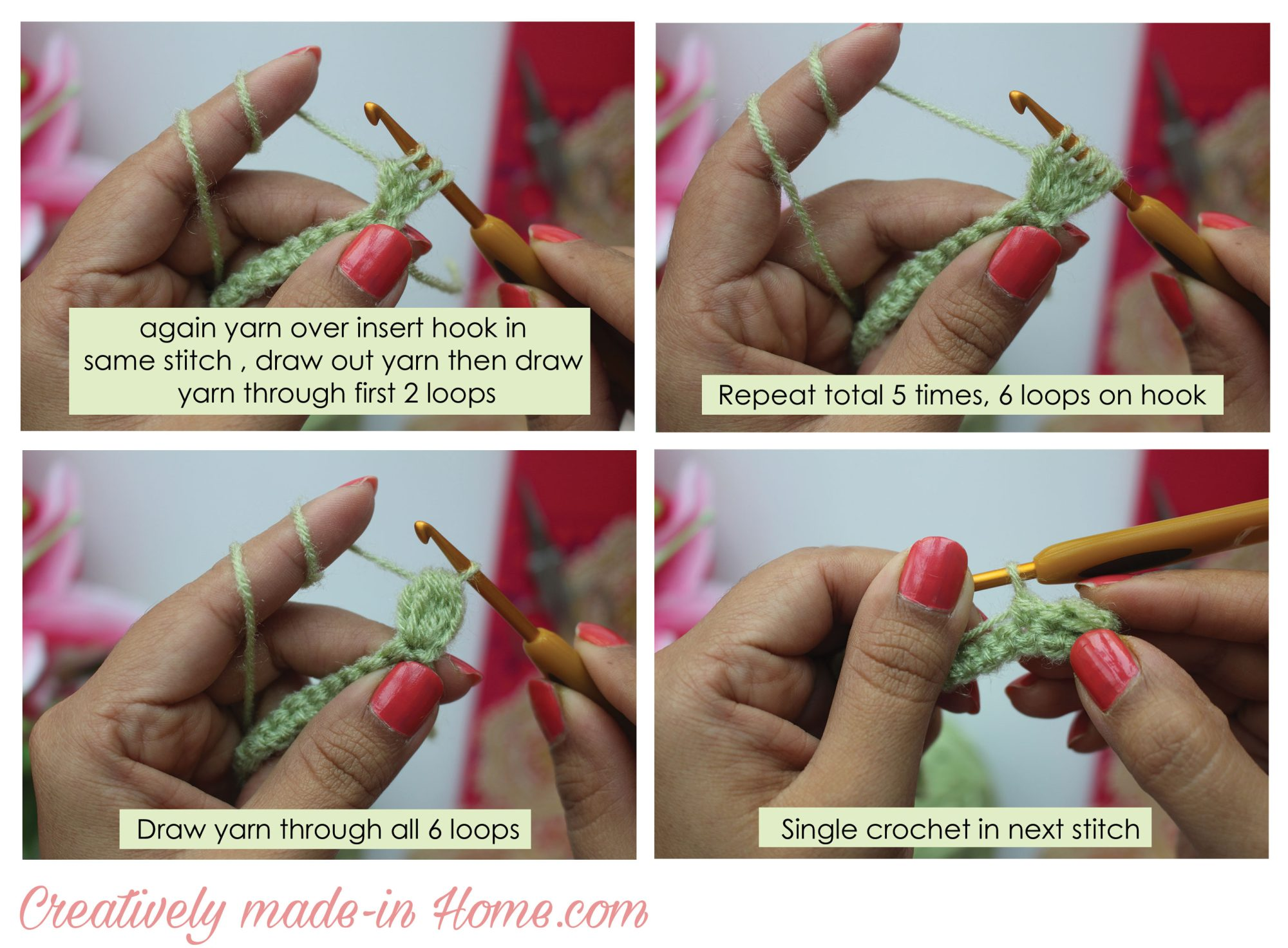 How To Crochet Bobble Stitch Creatively Made In Home Diagram Of Pattern Make Step 04
