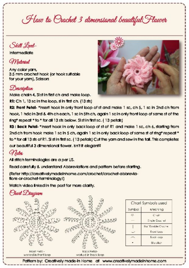 thumbnail of How to crochet 3 dimensional beautiful flower- Instruction Card