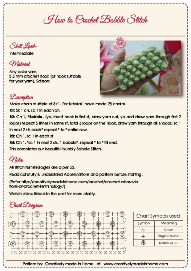 thumbnail of How to crochet Bobble Stitch- Instruction Card