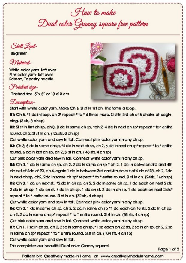 thumbnail of Dual color Granny square free pattern- Instruction card