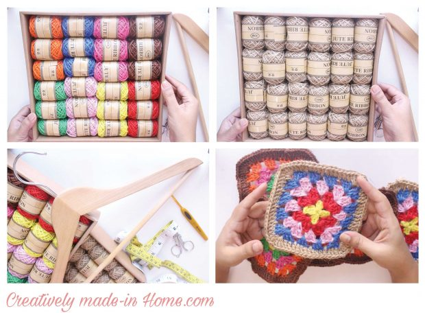 How to crochet Jute wall hanging with Storage-01