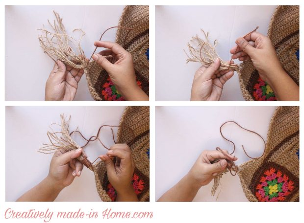 How to crochet Jute wall hanging with Storage-06