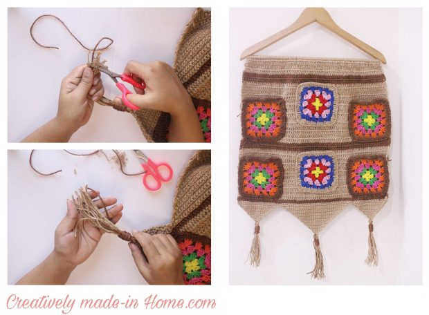 How to crochet Jute wall hanging with Storage-07