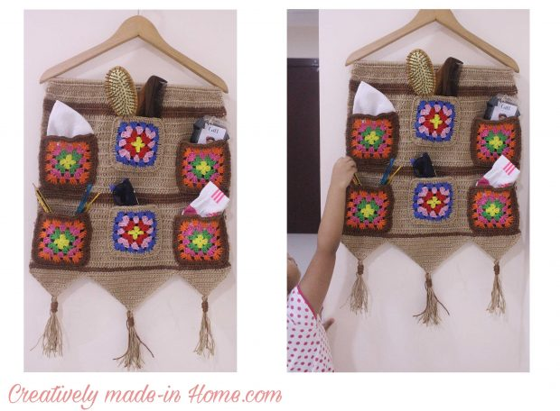 How to crochet Jute wall hanging with Storage-08