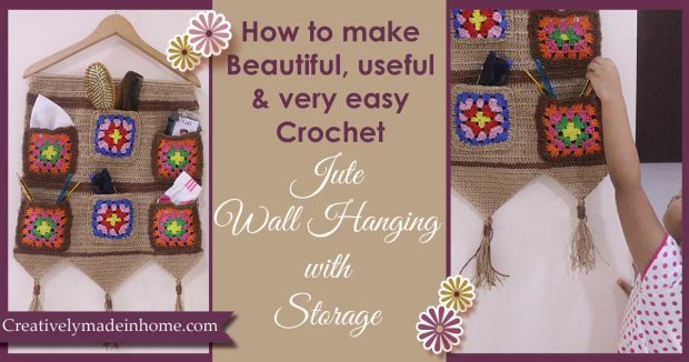 How to crochet Jute wall hanging with Storage