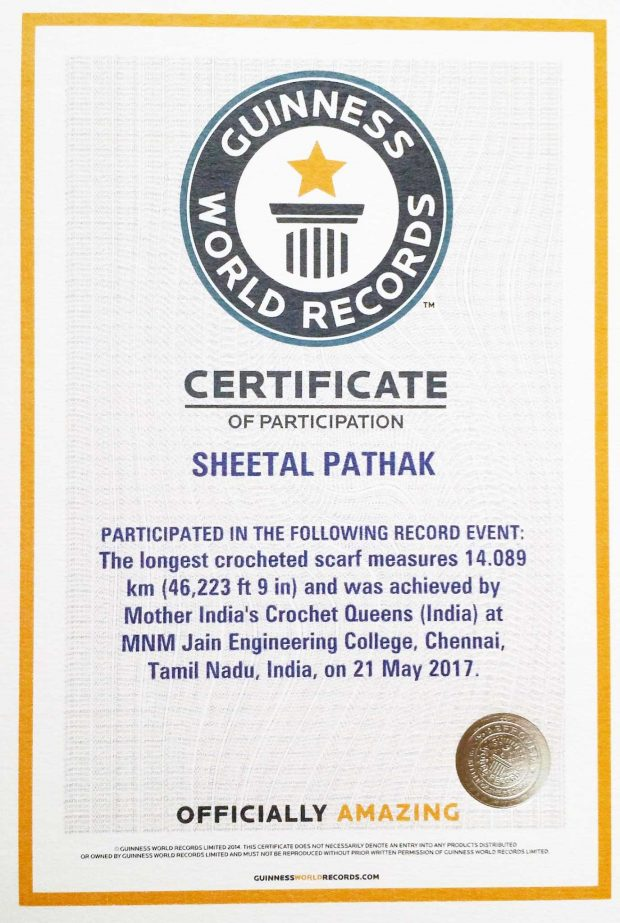 Sheetal Pathak-Guinness world record certificate